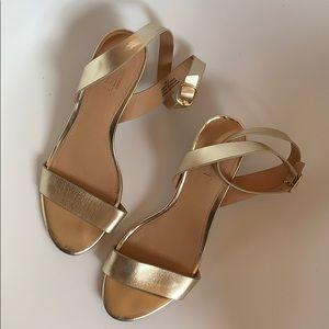 Ann Taylor Loft gold low block heel open toe